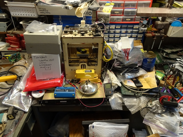 messy workbench with MakerBot CupCake