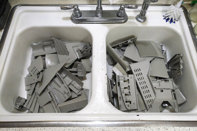 washing post-consumer plastic in the kitchen sink