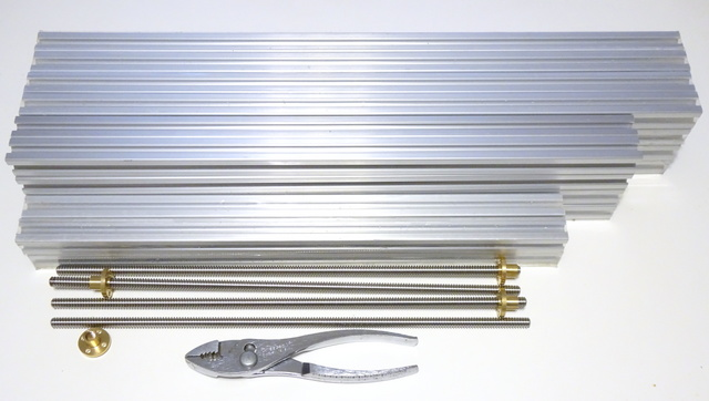 2020 aluminum extrusions and 8-mm lead screws