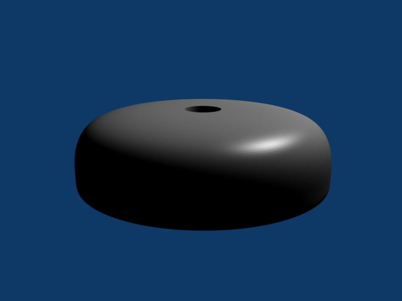 LED puck case modeled in Blender, default material, from above