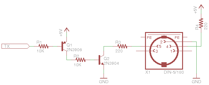 MIDI output schematic with two-transistor buffer