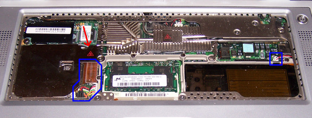 PowerBook G4 550 Motherboard Top-Side Screw and Connector Locations