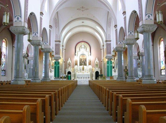 St. Fidelis Church, Victoria, KS: nave and presbytery
