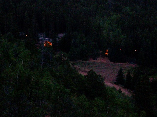 Rocky Mountain Mennonite Camp: looking down on the lodge after dark