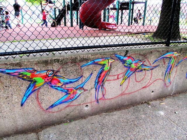 Birds painted on the edge of Capitolo playground, Philadelphia
