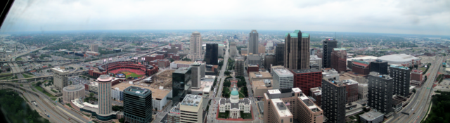 View to the west from the St. Louis Arch