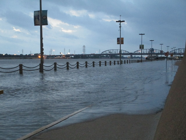 High water on Wharf Street in Laclede's Landing, St. Louis
